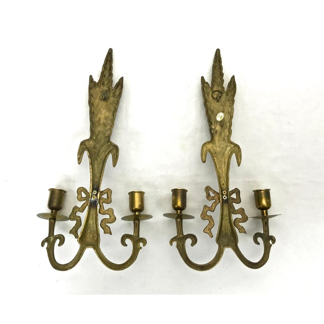 Gold Brass Wall Sconces - A Pair For Sale - Image 8 of 8