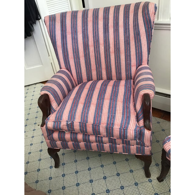 Antique Chairs With John Robshaw Vintage Stripe Cora Fabric - a Pair For Sale - Image 4 of 13