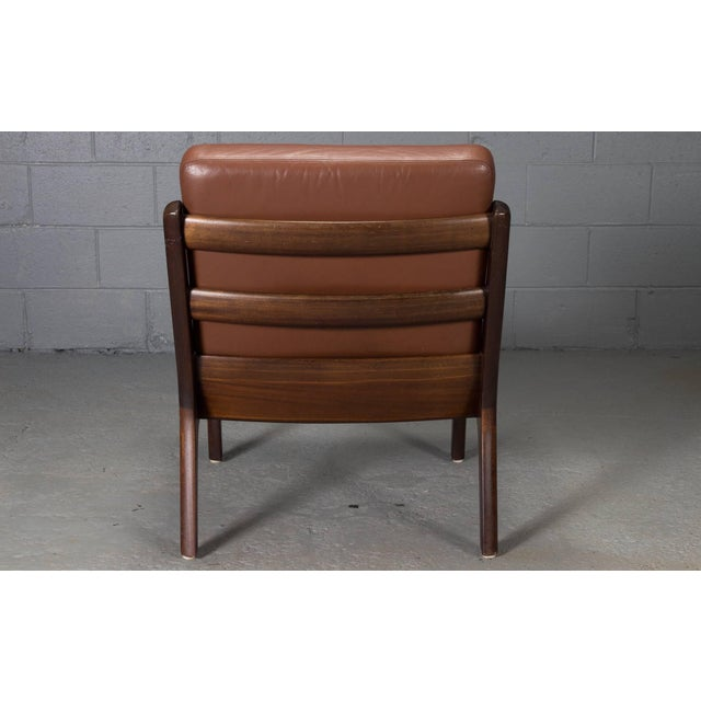 Pair of Senator Chairs by Ole Wanscher in Brown Leather For Sale In Boston - Image 6 of 9