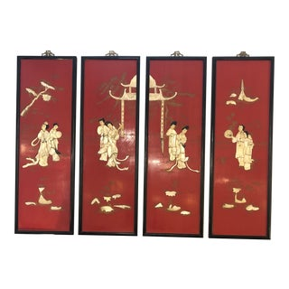 Red Chinoiserie Panels With Mother of Pearl Relief -Set of 4 For Sale