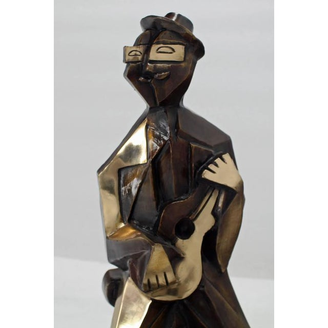 Gold Bronze Abstract Guitarist Sculpture after Picasso Numbered For Sale - Image 8 of 9
