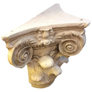 Three Sided Carved Plaster Column Top Table For Sale