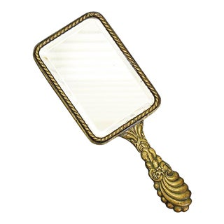 French Brass Vanity Hand Mirror For Sale