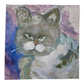 """Kitty"" Contemporary Pastel and Gouache Drawing by Martha Holden For Sale"