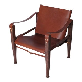 Contemporary Bespoke Brown Leather Safari Lounge Chair by Third Life Designs For Sale