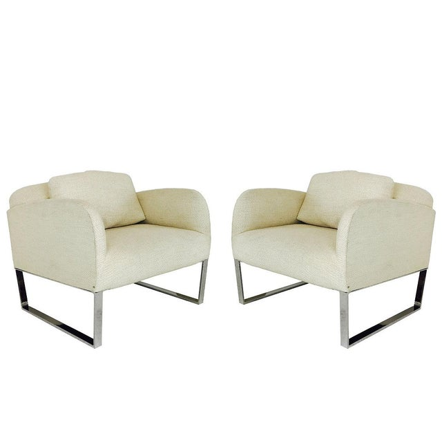 Tan Pair of Donghia Focal Deco Style Lounge Chairs For Sale - Image 8 of 8