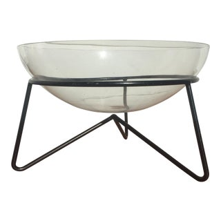 Modern Atomic Glass Bowl on Metal Stand