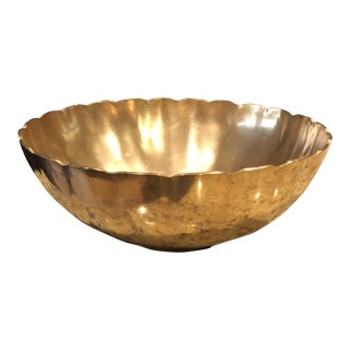 Mid-Century Solid Brass Scalloped Edge Bowl For Sale