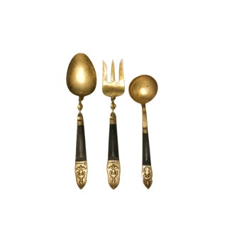 1970s Brass & Twisted Wood Buddha Serving Spoons & Fork Utensils - Set of 3 For Sale