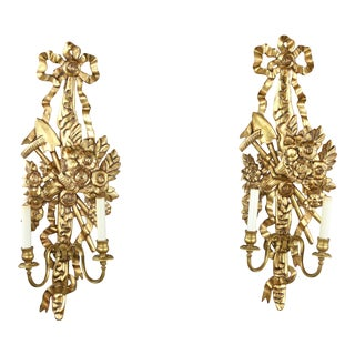 French Giltwood Wall Sconces, 20th Century - a Pair For Sale