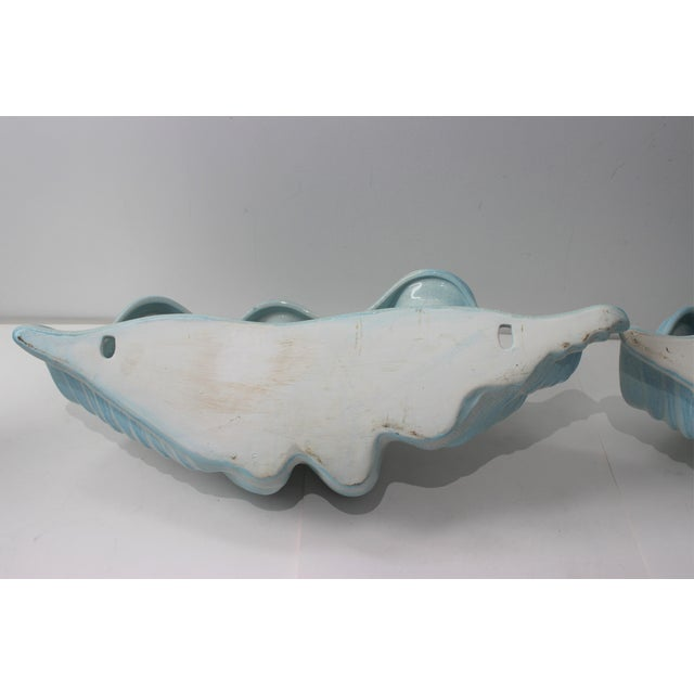 Blue Mid-Century Modern Robins Egg Blue Wall Pockets Cachepot - a Pair For Sale - Image 8 of 13