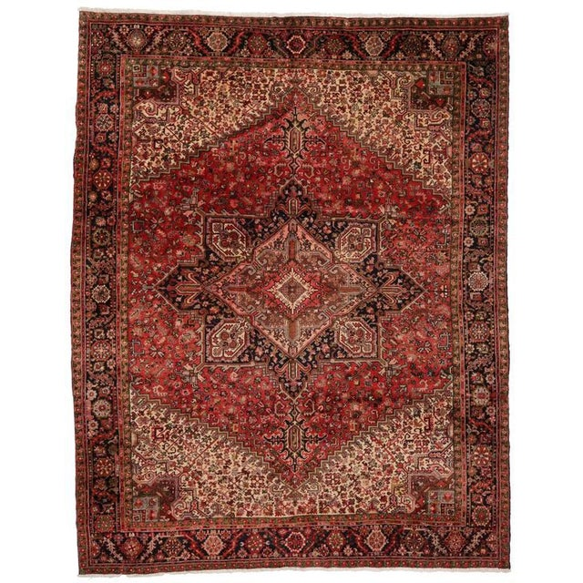 Vintage Persian Heriz Rug with Mid-Century Modern Style For Sale In Dallas - Image 6 of 8