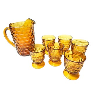 Mid-Century Amber Glasses & Pitcher - Set of 7 For Sale
