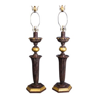 Pair of Gilded Columns Lamps with Metal Finials For Sale