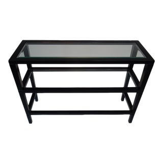 Three-Tiered Beveled Glass Wood Console Table