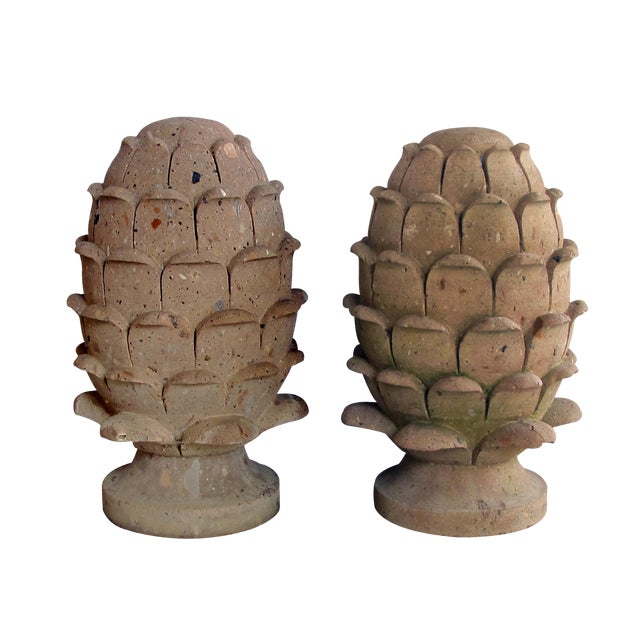 A robust pair of Mexican hand-carved cantera stone artichoke elements For Sale