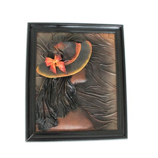 Vintage Framed Female Leather Wall Art For Sale
