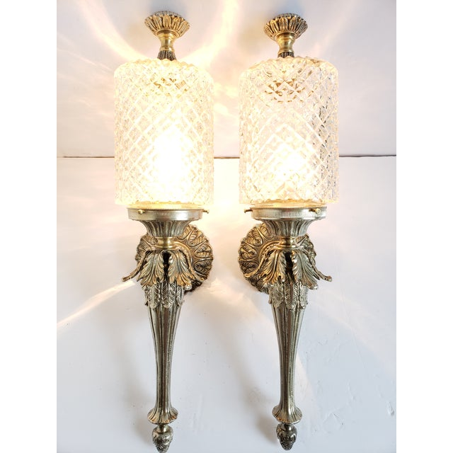 Vintage Spanish Brass and Glass Wall Sconces For Sale - Image 11 of 11