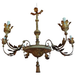 18th Century Italian Genovese Giltwood Chandelier For Sale