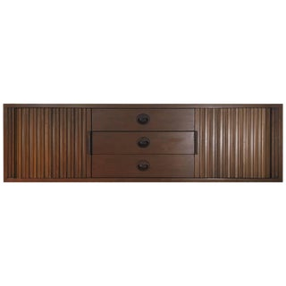 Walnut Wall Mount Credenza With Tambour Doors by Edward Wormley for Dunbar For Sale