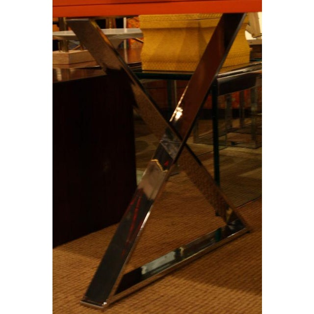 Metal Milo Baughman Orange Lacquered Campaign Desk For Sale - Image 7 of 7