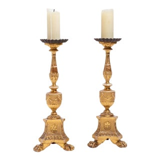 Pair of Antique 18th C Continental Neoclassical Giltwood Pricket Candlesticks For Sale