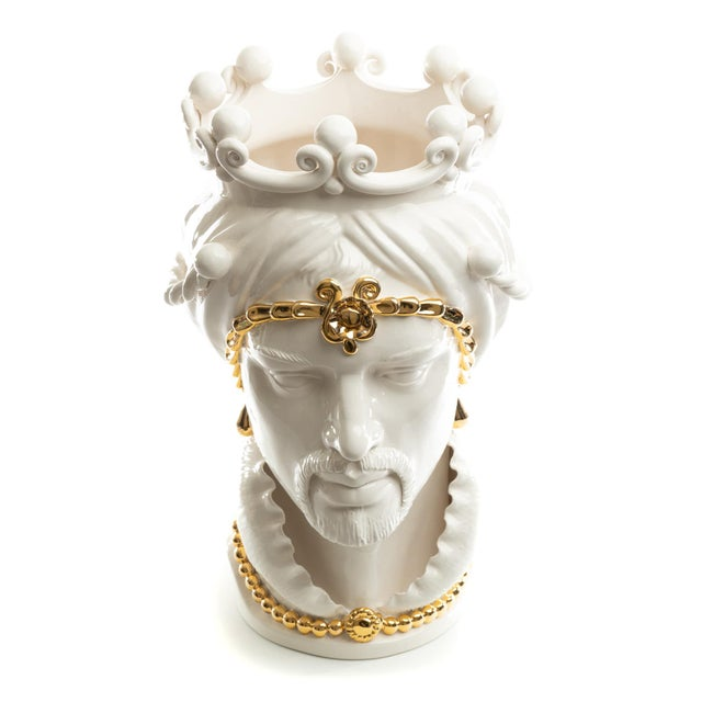 Not Yet Made - Made To Order 24 Karat Gold Sicilian Gigante Head, Schittone Modern Moro For Sale - Image 5 of 10