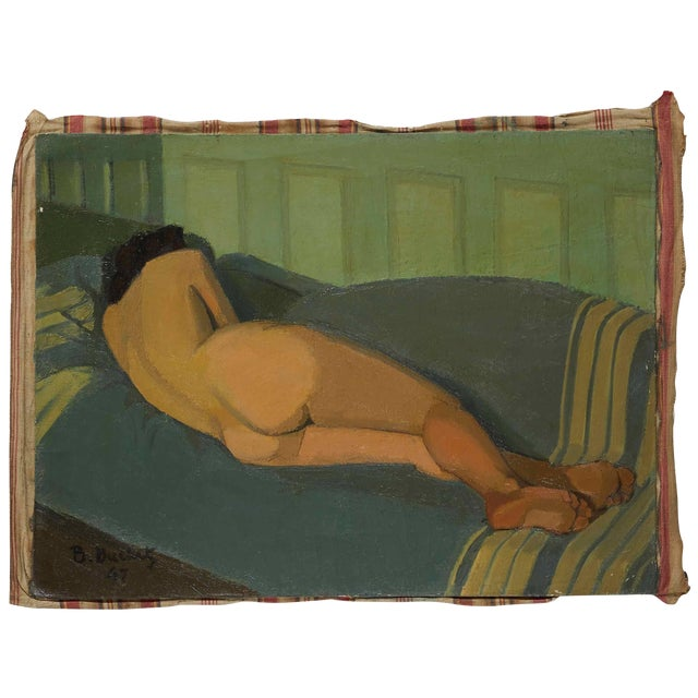 Oil Painting of Female Nude Lying on Sofa by Artist B. Buchet For Sale