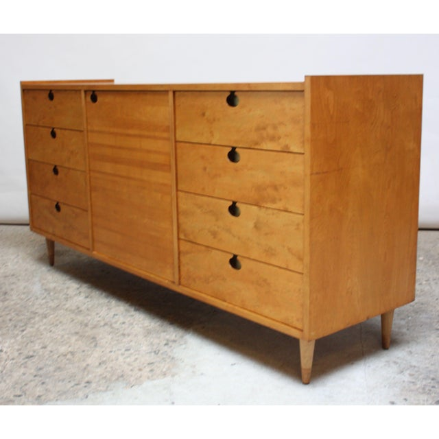 Mid-Century Modern Edmond J. Spence Sideboard in Maple and Brass For Sale - Image 3 of 11