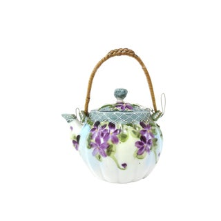 Vintage Mini-Teapot - Hand Painted Ceramic With Wicker Handle - Violets Moriage For Sale