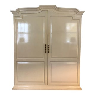 Vintage Hollywood Regency Lacquered Armoire Chifferobe For Sale