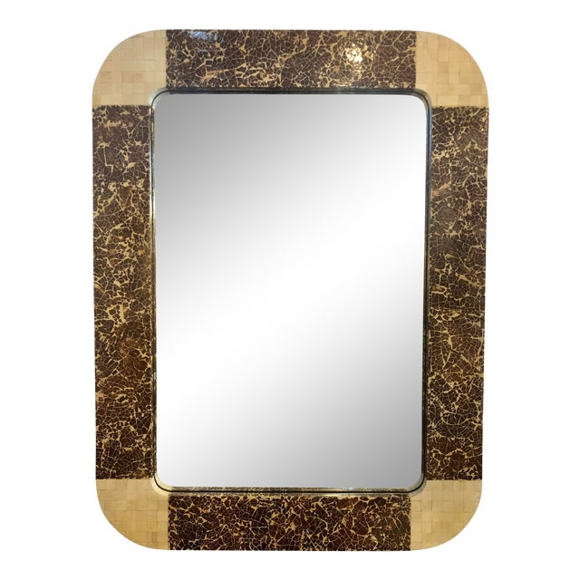 Enrique Garcel Tessellated Bone and Coconut Shell Oversized Wall Mirror For Sale