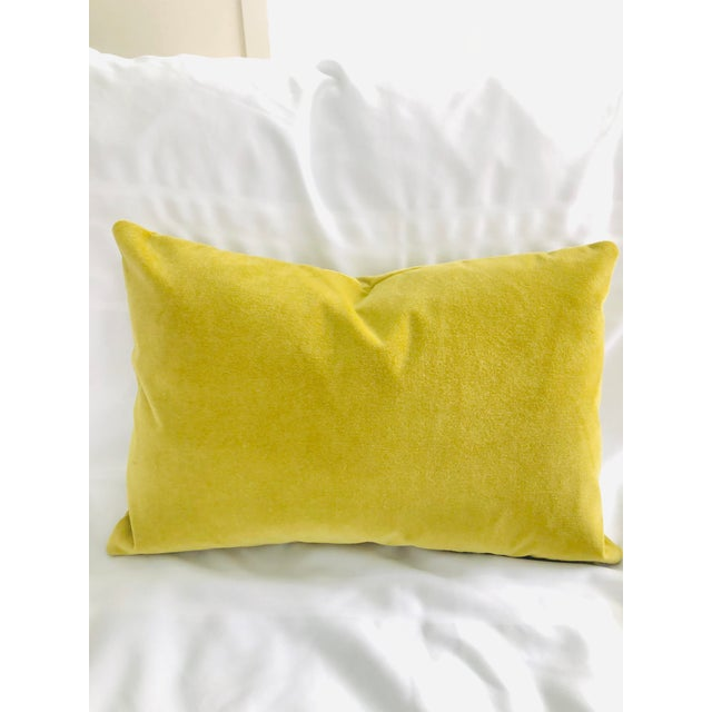 Chartreuse Velvet Feather Down Pillow For Sale - Image 4 of 4