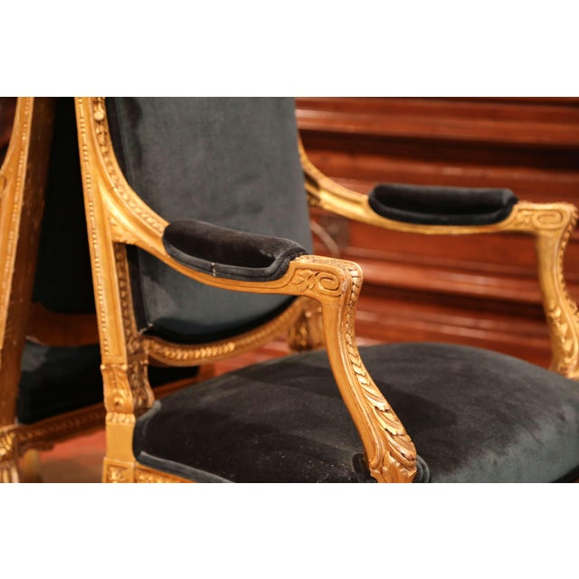 Pair of 19th Century French Louis XV Carved Giltwood Armchairs With Green Velvet For Sale - Image 9 of 11