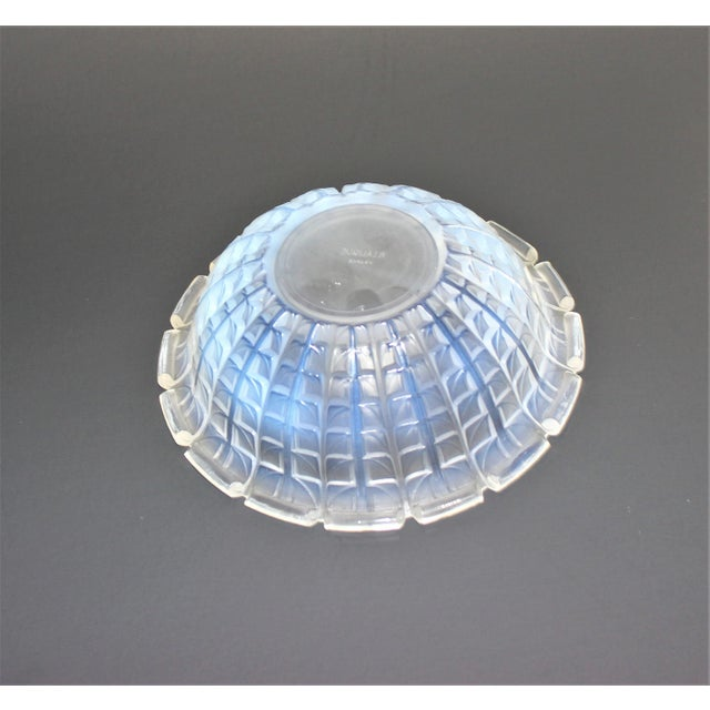 R. Lalique 1928 model Acacia Pattern Opalescent Crystal Bowl from a Palm Beach estate. This is a very subtle opaline...