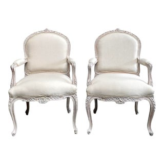 Vintage Pair of Painted and Upholstered Louis XV Style Open Armchairs For Sale