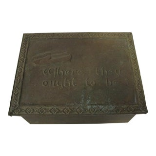 1910s Antique English Brass Repousse Hearth Box For Sale