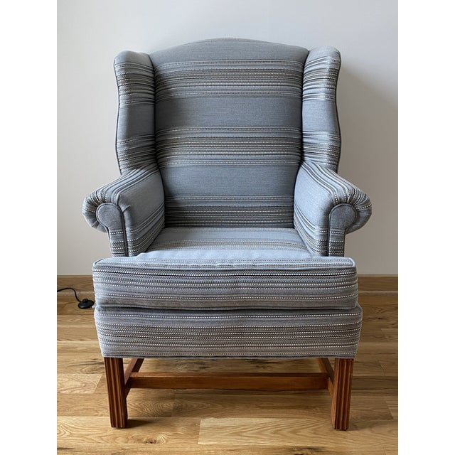1970s Gray Stripe Wingback Chair For Sale - Image 9 of 9