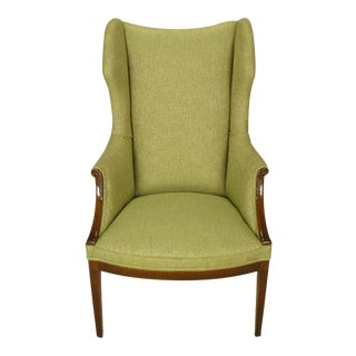 1940s Italianate Mahogany and Sage Linen Upholstery Wing Chair For Sale