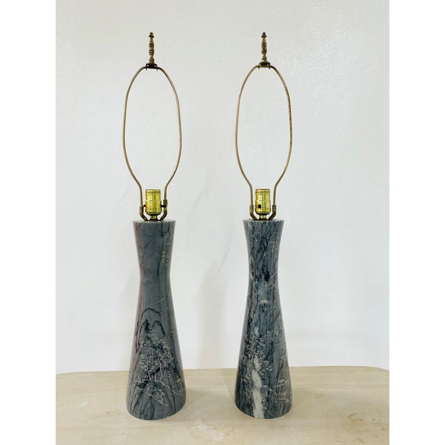 Black Pair of Etched Asian Themed Marble Lamps For Sale - Image 8 of 8