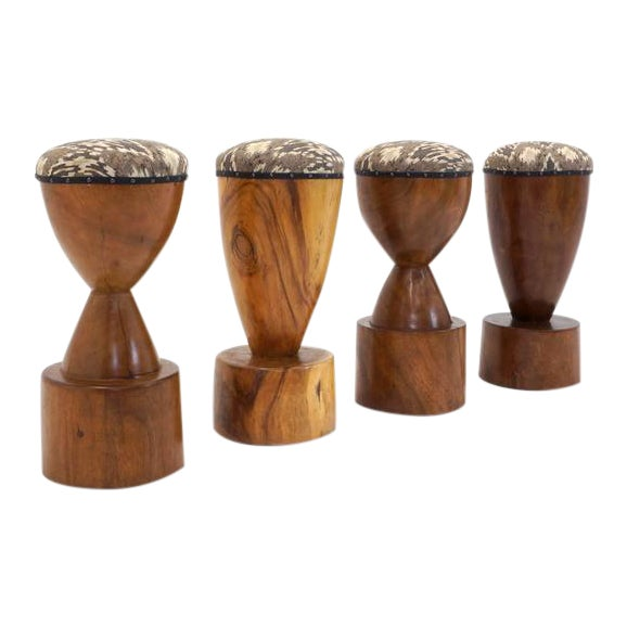 Set of Four 1960s Barstools of Solid Walnut and Exotic Woods For Sale