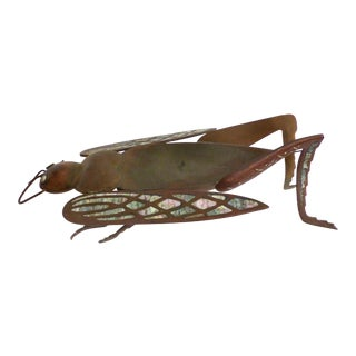 Los Castillo Brass, Copper & Abalone Grasshopper Dish attrib. Salvador Teran For Sale