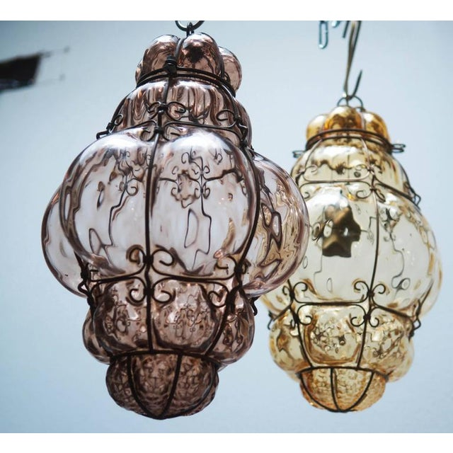 Metal Steel Wire & Glass Pendant Lamp by Seguso Murano, 1960s For Sale - Image 7 of 10