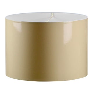 Large Beige High Gloss Drum Lamp Shade For Sale