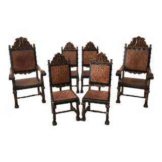 Spanish Antique Leather Dining Chairs - Set of 6 For Sale