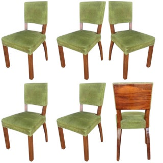 French Art Deco Walnut Dining Chair, Set of Six For Sale
