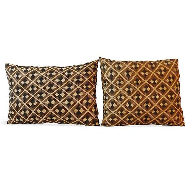 African Kuba Pillows - Pair - Image 1 of 5