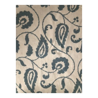 Schumacher 6 1/2 Yards of Malacca Ikat Vine Printed Fabric For Sale