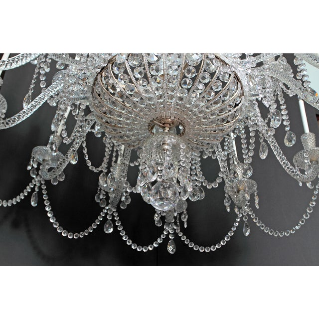 Crystal A Pair of Large Scale Majestic 24-Light Cut-Crystal Chandeliers For Sale - Image 7 of 12