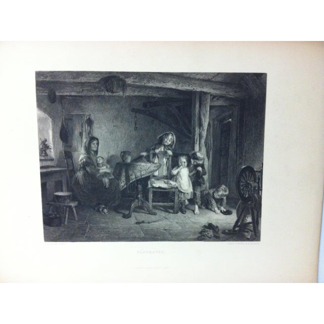 """This is a antique print on paper that is titled """"Playmates"""" by Lumb Stocks. The print dates from around 1880 and is ready..."""